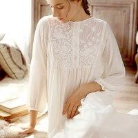 2018 NEW Vintage Princess Nightgowns Female Sweet Long Dress Cotton White Embroidery Nightdress Spring Women Sleepwear HZL26