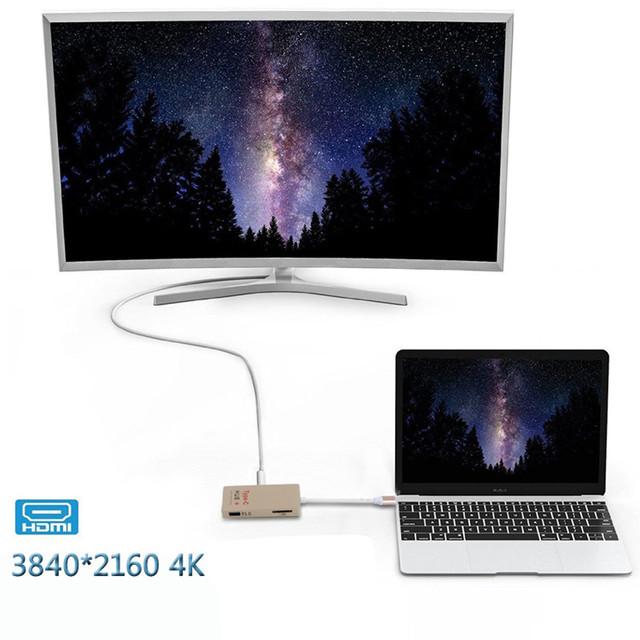 Multifunción 6-puertos Usb 3.1 HUB Lector de Tarjetas SD u-disco typeC 4 K hdtv ljj1227 0.5ft cable de datos usb para macbook pro envío de la gota