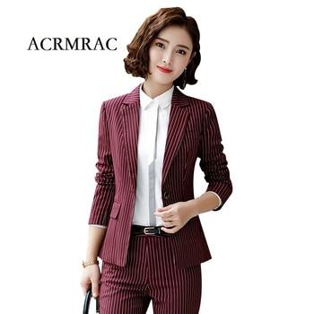 d1df6a096c ACRMRAC mujeres trajes raya delgada chaqueta OL Formal mujeres pantalones trajes  para mujer trajes de negocios