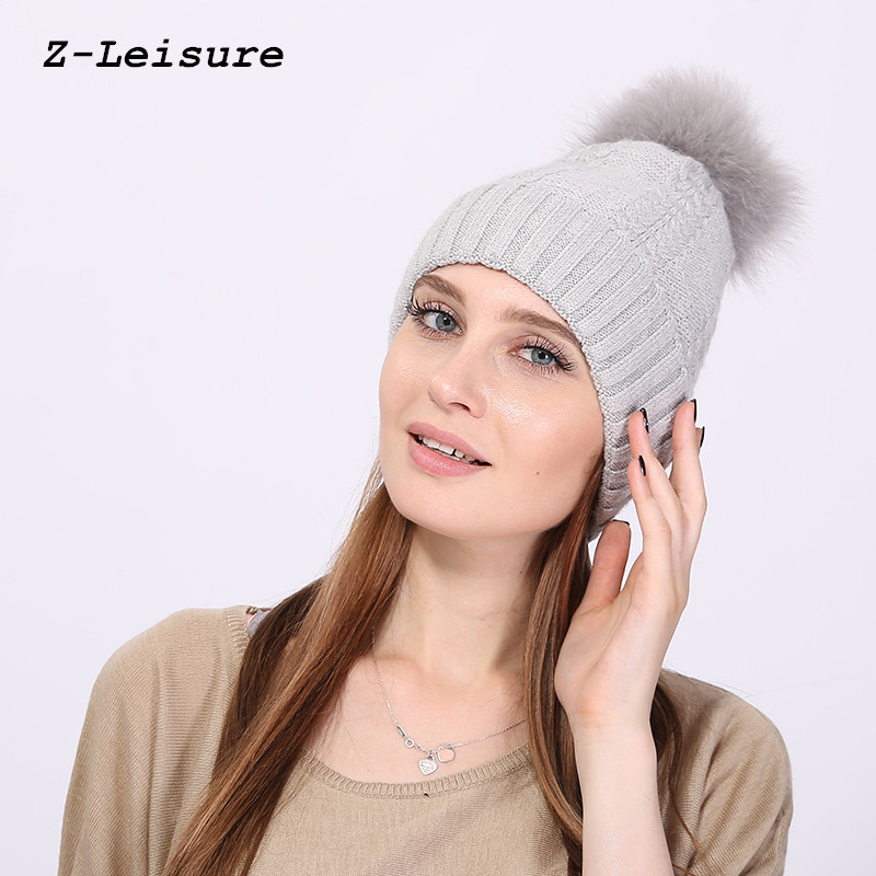 Women Knitted Wool Hat Winter Natural Fox Fur Warm Caps Female Pom Pom Hats Ladies Fashion Skullies Beanies Cap KC125 wuhaobo the new arrival of the cashmere knitting wool ladies hat winter warm fashion cap silver flower diamond women caps