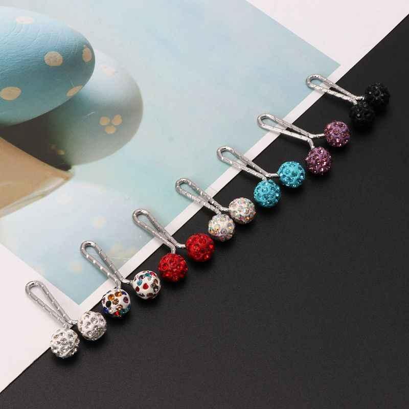 Safety Pin Muslim Jilbab Syal Klip Pin Berlian Imitasi Bola Bros Fashion Perhiasan