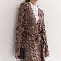 100% козья кашемир витой вязать для женщин Мода длинный кардиган свитеры для пальто темно серый 2 цвета M/L