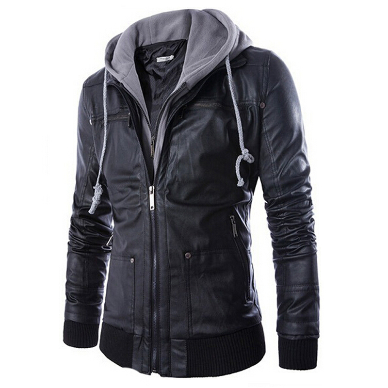 Mens Hooded Leather Jacket