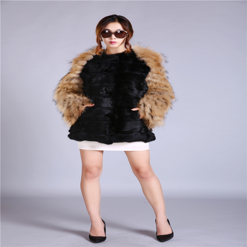 New fashion women's fur rabbit fur leather jacket braids long sleeves suede long coat
