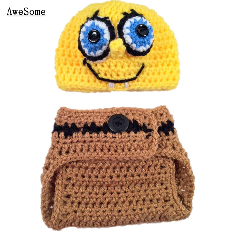 2Pcs Spongebob Outfits,Handmade Knit Crochet Baby Boy Girl Cartoon ...