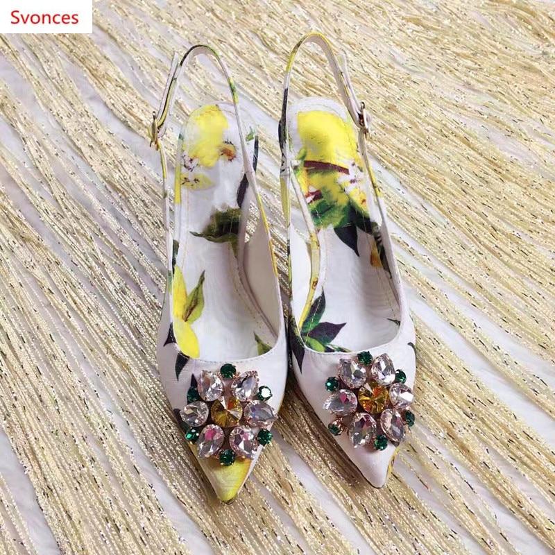 Hebilla 6cm Picture 9cm Amarillo Flor Las as Puntiagudo Impresión Mujeres Pie Nueva Zapatos Mujer Dedo Primavera Limón Del Dulce Cristal Correa De As Sandalias RwFgxSqT