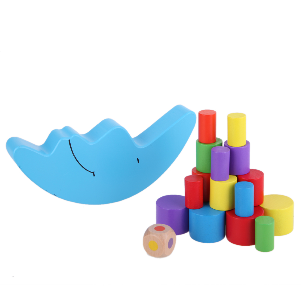 19Pcs/Set Moon Shape Balancing Toy Mixed Size Cylindrical Building Blocks Wooden Educational Baby Balance Training Block Toy wooden balance board skid counterweight balance training and the training of difficult personal and educational supplies