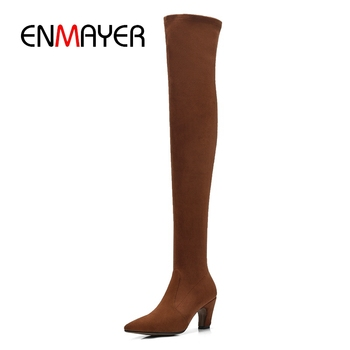 ENMAYER Women Boots women pointed toe over the knee boots high heel boots solid fashion female boots botas mujer ZYL980