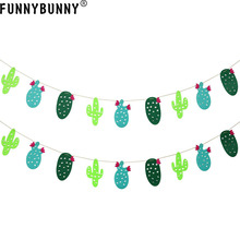 FUNNYBUNNY Cactus Banner Garland Party Supplies Fabric for Tropical Festival Hawaii Luau Decoration