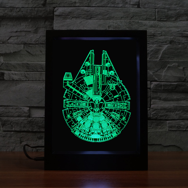han solo millennium falcon pattern digital display frame screen stars war led colorful light stormtrooper home - Stars War