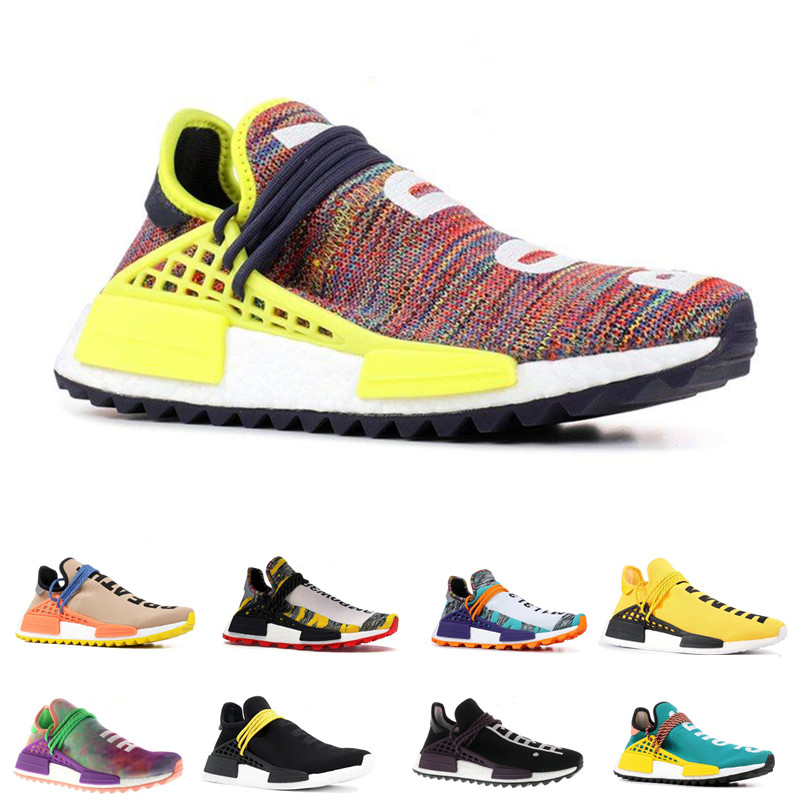 Chaussures de course de Race humaine pour hommes femmes Pharrell Williams blanc rouge échantillon jaune Core noir baskets de sport baskets 36-45