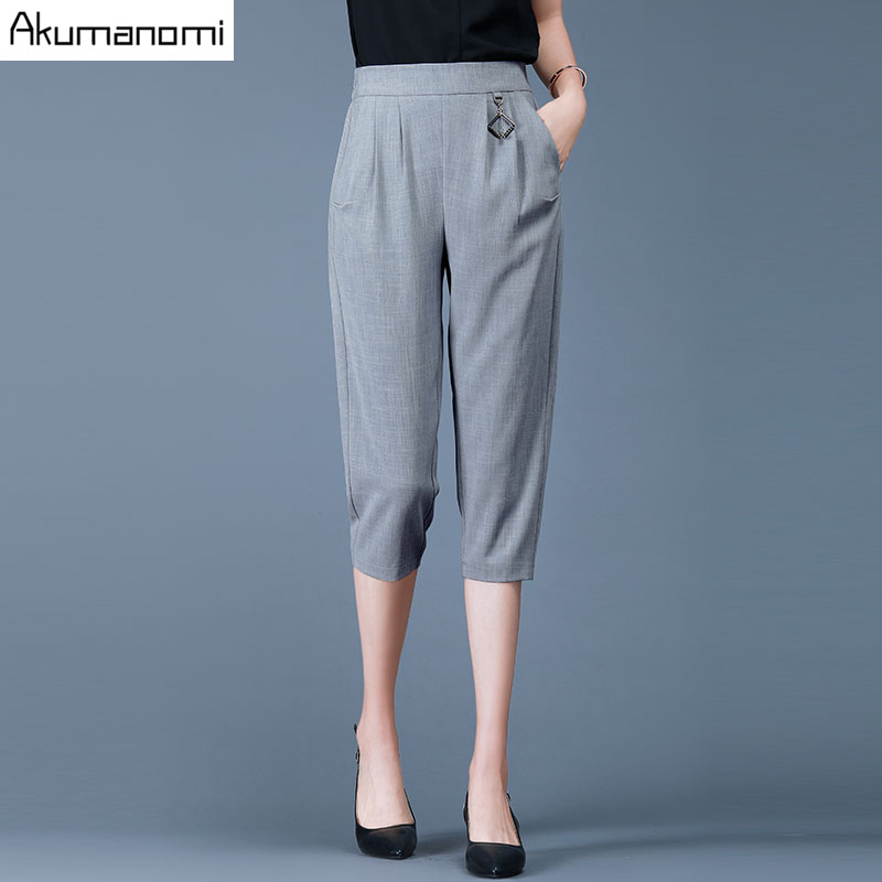 Plus Size Female Elastic   Pants     Capris   4XL Casual Elastic Waist Pocket Women Crops Super Stretch Summer Calf-length Pencil   Pants