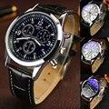 1 шт. Мужчин мужчина студент часы наручные часы Дата подарок Кожаный Нержавеющей Стали Военно-Спортивный Кварцевые Наручные Часы аналоговые стекла H5