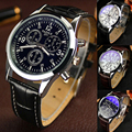 1pc Men male student watches wrist clocks gift Date Leather Steel Stainless Military Sports Quartz Wrist Watches analog glass H5