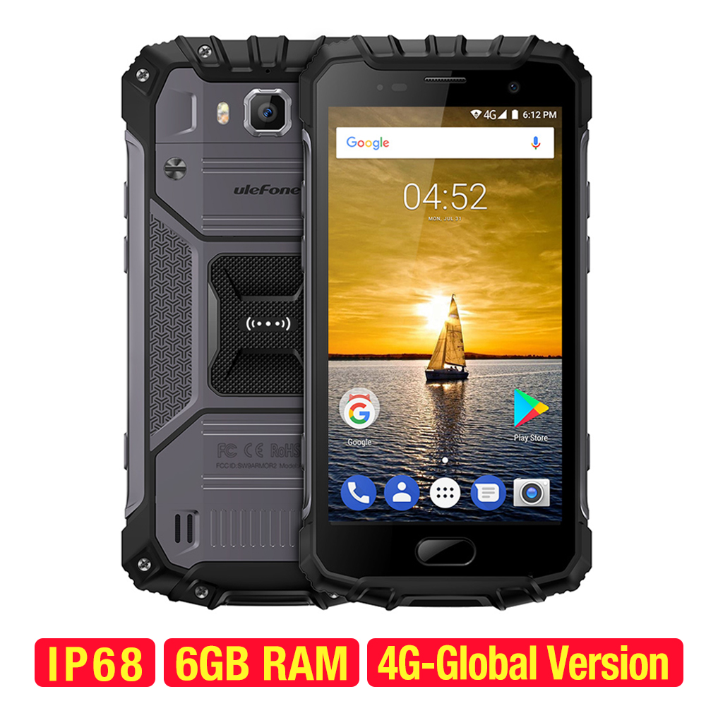 Ulefone Armure 2 Smartphone Android 7.0 Octa-core 64-peu 2.6 ghz 6 gb + 64 gb 16.0MP + 13.0MP IP68 Étanche 5.0 pouces 4g Mobile Téléphone