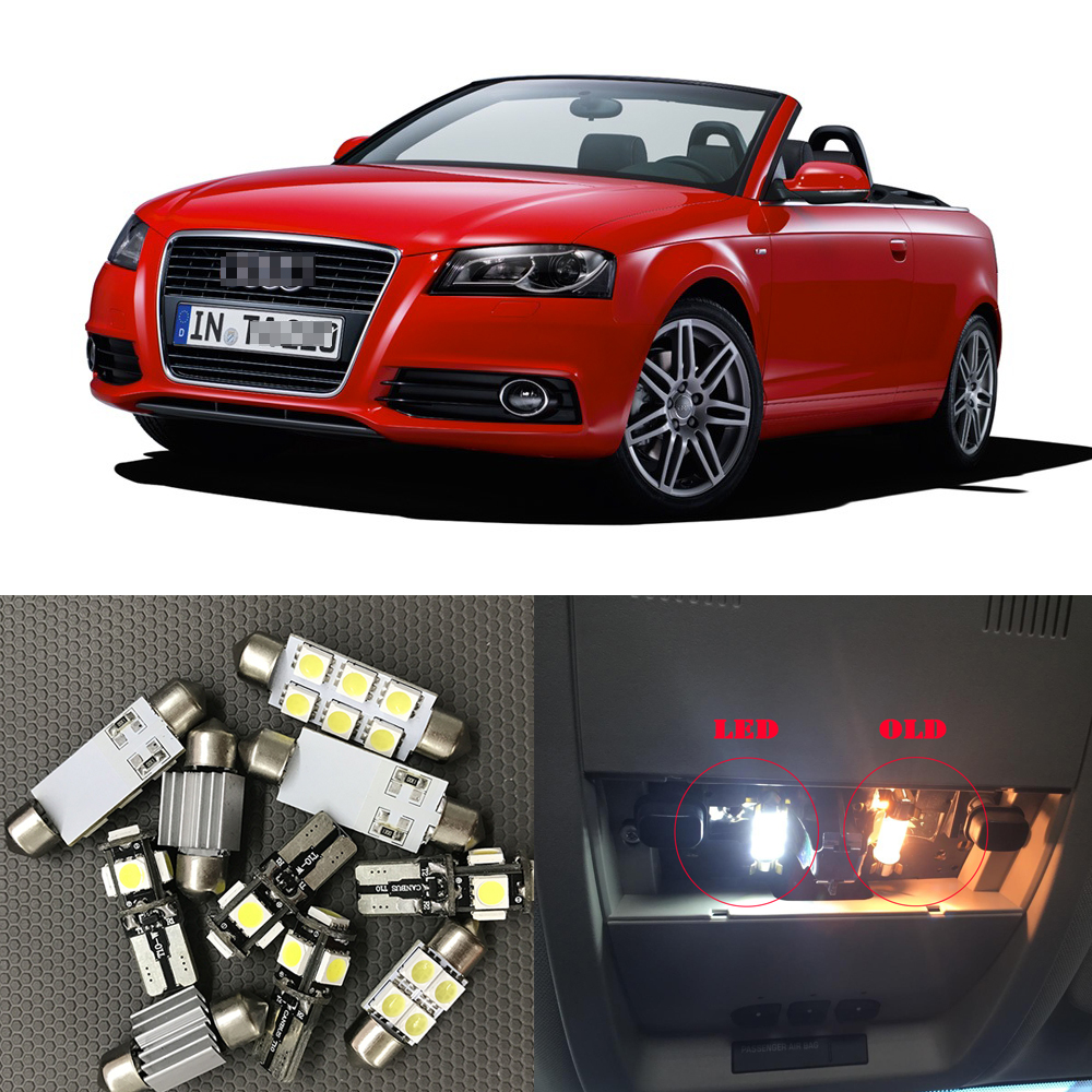 16x White Canbus Car <font><b>LED</b></font> <font><b>Light</b></font> Bulbs Interior <font><b>Kit</b></font> For 2006 2007 2008-2012 Audi A3 8P Map Dome <font><b>Vanity</b></font> <font><b>Mirror</b></font> License Plate Lamp