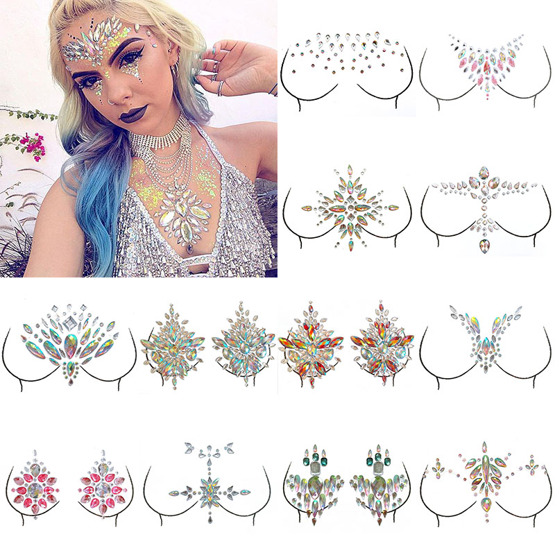 1 Sheet Adhesive Gems Sticker Body Art Sticky Temporary Tattoo Face Chest Jewel  Crystal Gems Festival Party Makeup Stickers 0581fcb34433