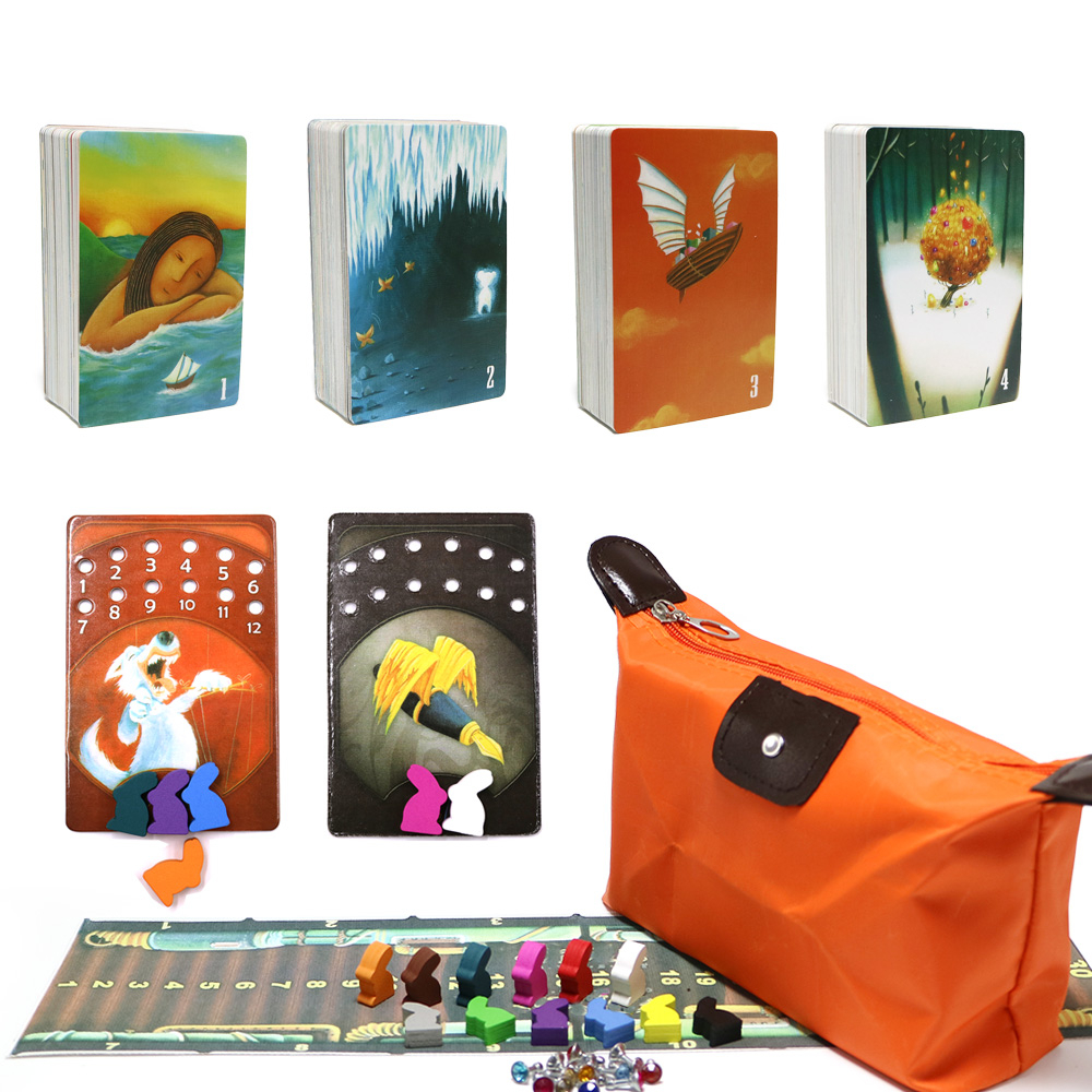 Playing-Cards Board-Game Wooden Party Family 7 8 for 1-2-3-4-5-6 Total-336 Bunny-Zipper-Bag