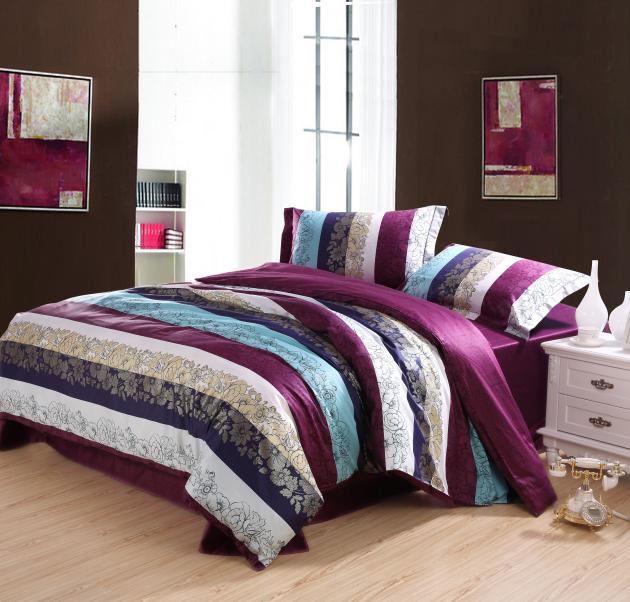 Egyptian Cotton Purple Blue Striped Bedding Set Queen Size