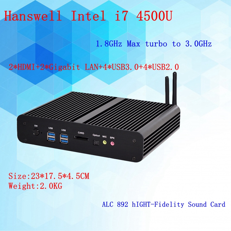 4th Gen. I7 4500U CPU Fanless Mini PC I7 Hanswell HTPC Blu-ray Micro PC Graphics HD4400 Computer Windows 7 Freeshipping
