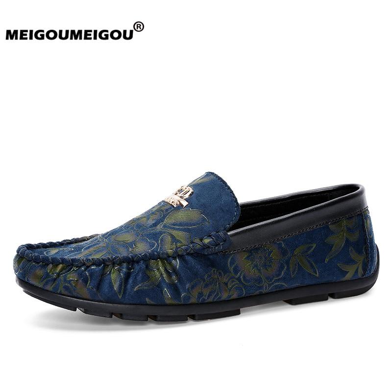 MEIGOUMEIGOU Super Fashion Men Vulcanize Shoes Flower Pattern Sneakers Soft & Light Men Moccasins Unique Flats Male Bean Shoes