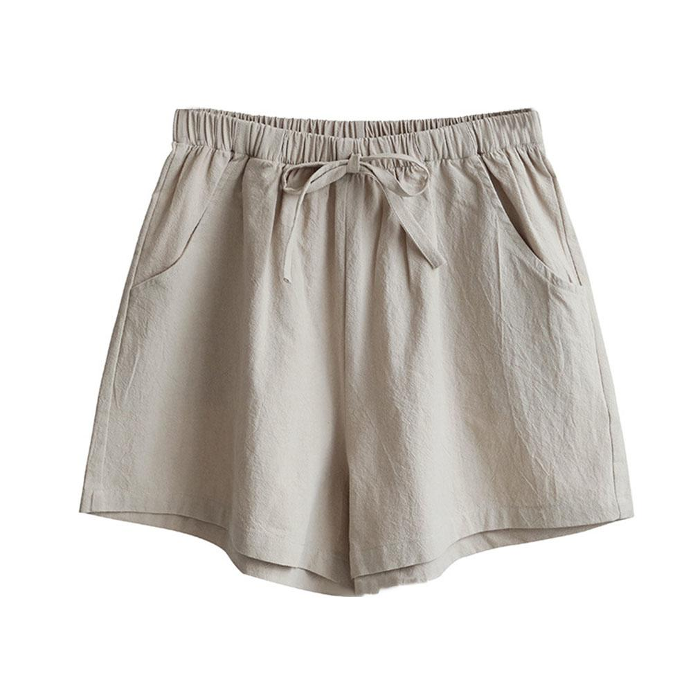 Summer Solid Color Women Drawstring High Waist Loose Cotton Linen   Shorts   2019