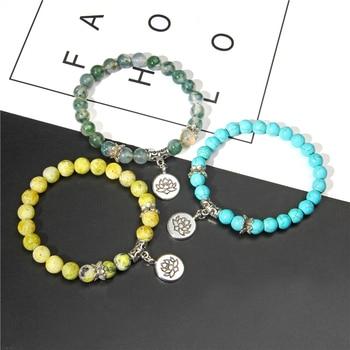 Handmade Natural Stone Lotus Ohm Buddha Beads Bracelet Pink Zebra Stone Lotus Charm Bracelet for Women Men Yoga  Jewelry Gifts 4