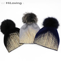 GZHilovingL Soft Warm Winter Beanie Gold Metallic With Fur Pompom Caps Cool Wool Thick Winter Fur Hats For Womens Ladies Gilrs