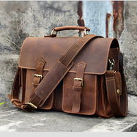 Vintage Crazy Horse Leather Pure Handmade Men Handbags Genuine Leather Messenger Bags Fashion men's leather 14 laptop bag