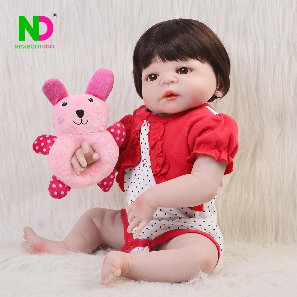 2018 Bebe Reborn 23'' Full Silicone Vinyl Body Newborn Dolls Babies Girl with Wig Toys Doll Best Birthday Gifts For Princess 23 silicone reborn girl dolls toys bebe princess reborn purple dress rooted hair newborn baby toddler dolls gifts for child