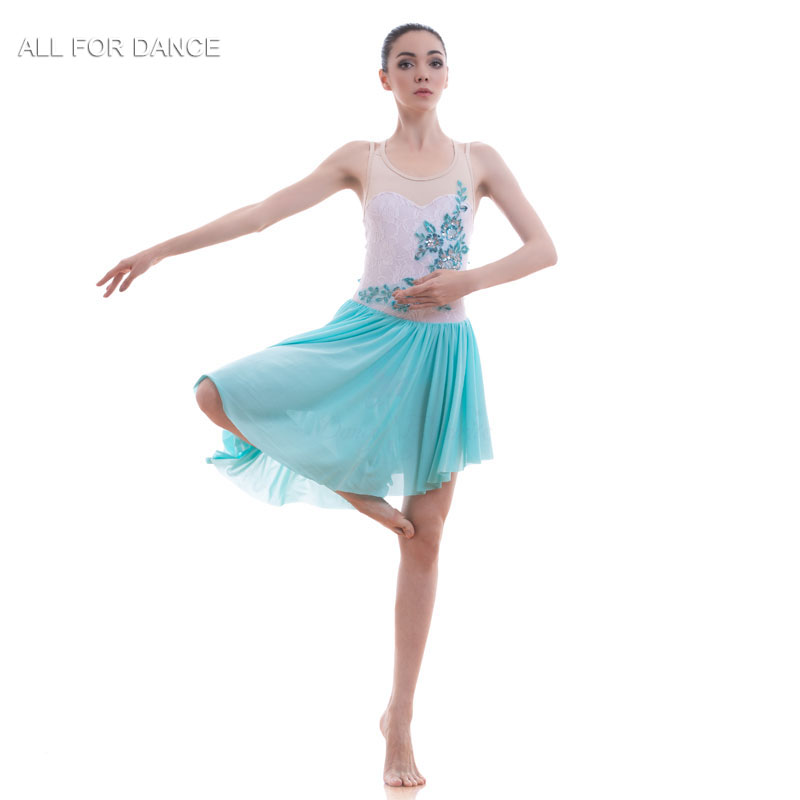 A18708 New Arrival Ballet Dress Women & Girl Lyrical Contempory Dance Costume White Lace Bodice Ballet Dress image