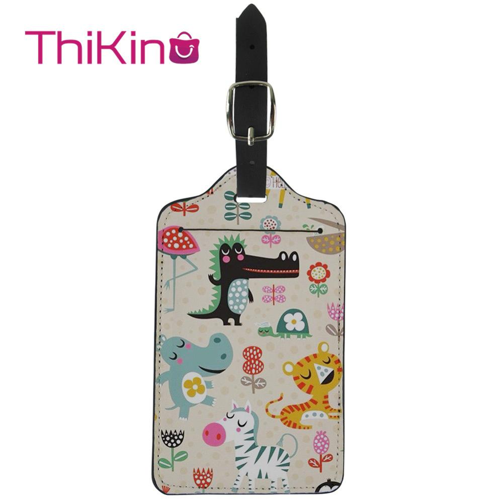 Thikin Cars Aeroplanes  Luggage Tag Women Travel Accessories PU Suitcase ID Address Holder Baggage Boarding Tag Portable Label