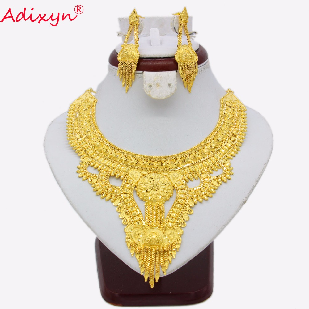Adixyn African Jewelry Set High Quality Gold Color/Copper Necklace Earrings Arab Dubai Wedding Party Girlfriend Gifts N03135