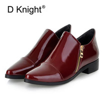 Fashion Pointed Toe Women Boots Zip Solid Women Shoes Patent Leather Shoes Woman Flat Oxford Shoes New England Style Oxfords стоимость
