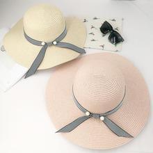 sommer perlen strohhut frauen große breite rand strand hut sonnenhut faltbare sonnenschutz UV schutz panama hut knochen chapeu feminino