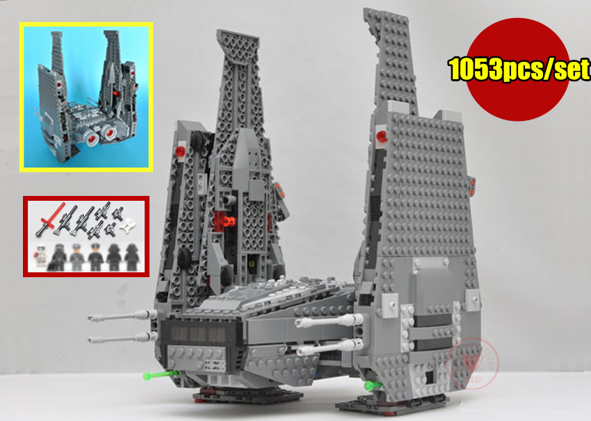 New Kylo Ren Command Shuttle fit legoings star wars figures starfighter model building Blocks bricks gift kid 75104 diy Toys lepin 05006 star kylo ren command shuttle lepin building blocks educational toys compatible with 75104 lovely funny toys wars
