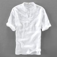 Italy Handsome White Shirt Men Linen Short Sleeve Men Shirts Pure Flax Fashion Shirt Mens Solid