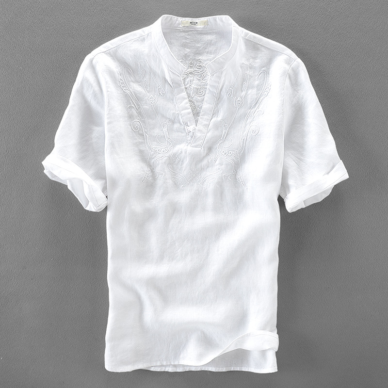 Italy Handsome White Shirt Men Linen Short Sleeve Men Shirts Pure Flax Fashion Shirt Mens Solid Casual Shirts Male Loose Camisa