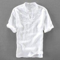 Italy Handsome White Shirt Men Linen Short Sleeve Men Shirts Pure Flax Fashion Shirt Mens Solid