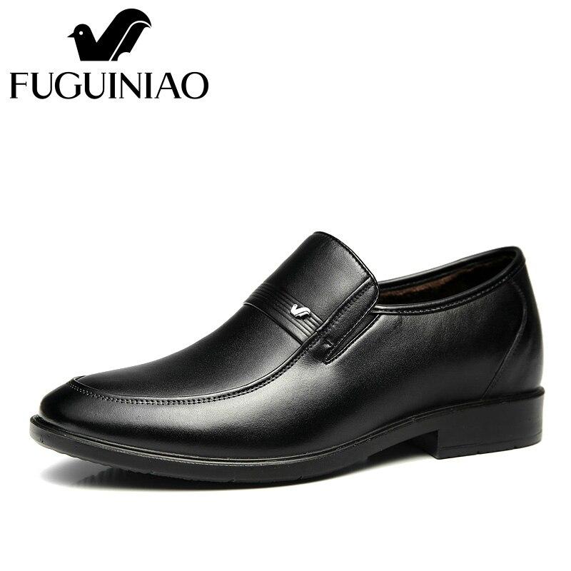 Ayakk.'ten Resmi Ayakkabılar'de Kış sıcak erkek resmi ayakkabı! Ücretsiz kargo! FUGUINIAO hakiki deri moda resmi Ayakkabı/kısa peluş iç/renk siyah'da  Grup 2