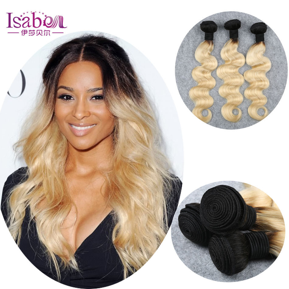 #1BT613 Two Tone Ombre Hair Extension Dark Roots Honey Blonde Brazilian Hair Blonde Virgin Hair Weave Body Wave