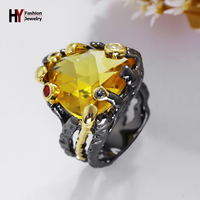 שחור וזהב טבעת אצבע לנשים מעצב ייחודי ח. י. צבע שמפניה צבע אבן גדול אופנה טבעות מסיבת Jewerly Aneis Feminino