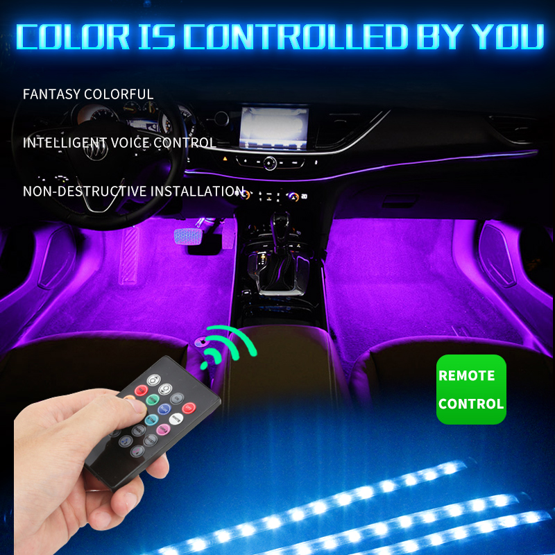 Image 3 - 12led car foot lamp Ambient lamp RGB usb/wireless remote/music control/Multiple modes Automotive interior decorative neon lights-in Decorative Lamp from Automobiles & Motorcycles