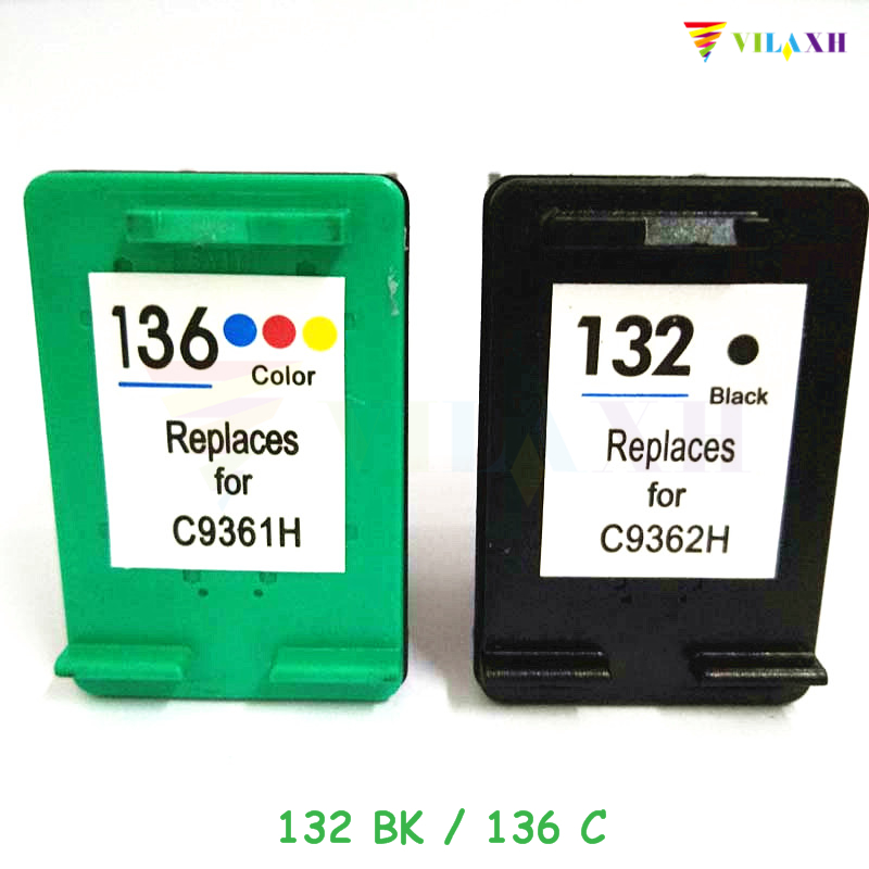 vilaxh 132 136 Compatibele inktcartridge vervangen voor HP 132 136 voor Photosmart 2573 C3183 Officejet 6213 PSC 1513 printer