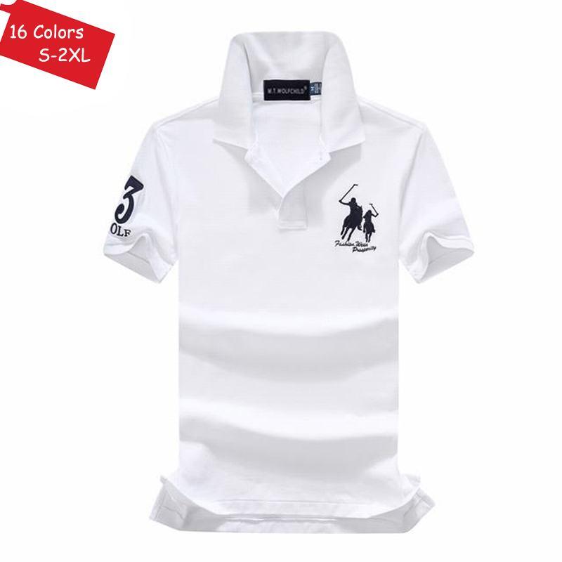 Boa qualidade 2019 marca de verão dos homens manga curta cavalo polos camisas casuais dos homens de algodão lapela polos camisas moda masculina magro topos