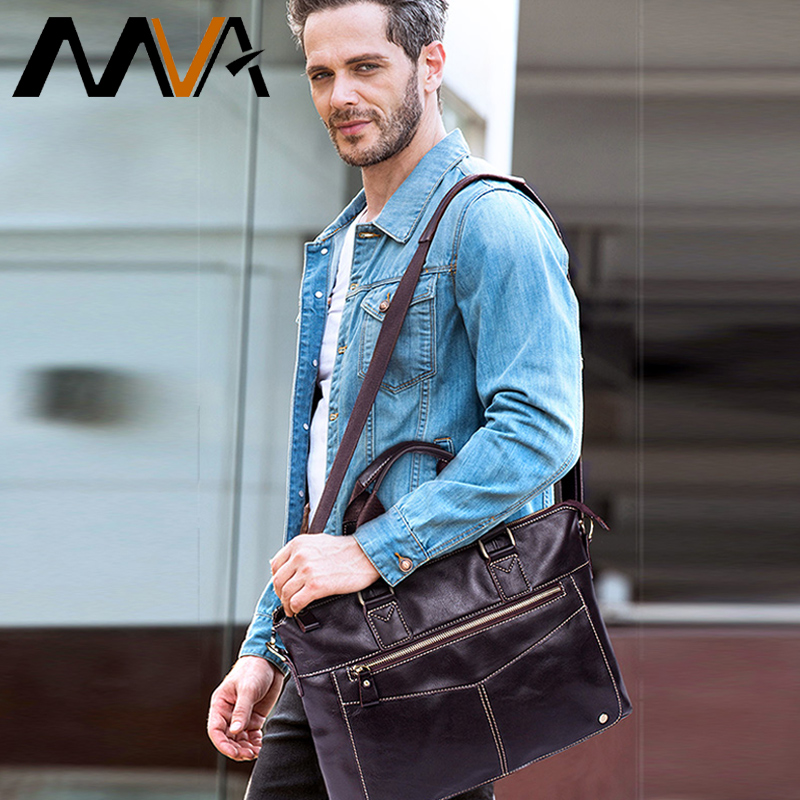 MVA Men Briefcases Genuine Leather Laptop Bags Business Briefcases Bag Men Messenger Bags Document Bags for Man Handbags 2018-in Briefcases from Luggage & Bags    1