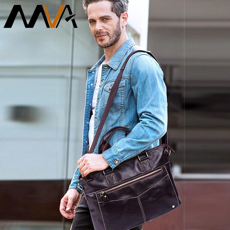 MVA Men Briefcases Genuine Leather Laptop Bags Business Briefcases Bag Men Messenger Bags Document Bags For Man Handbags 2018