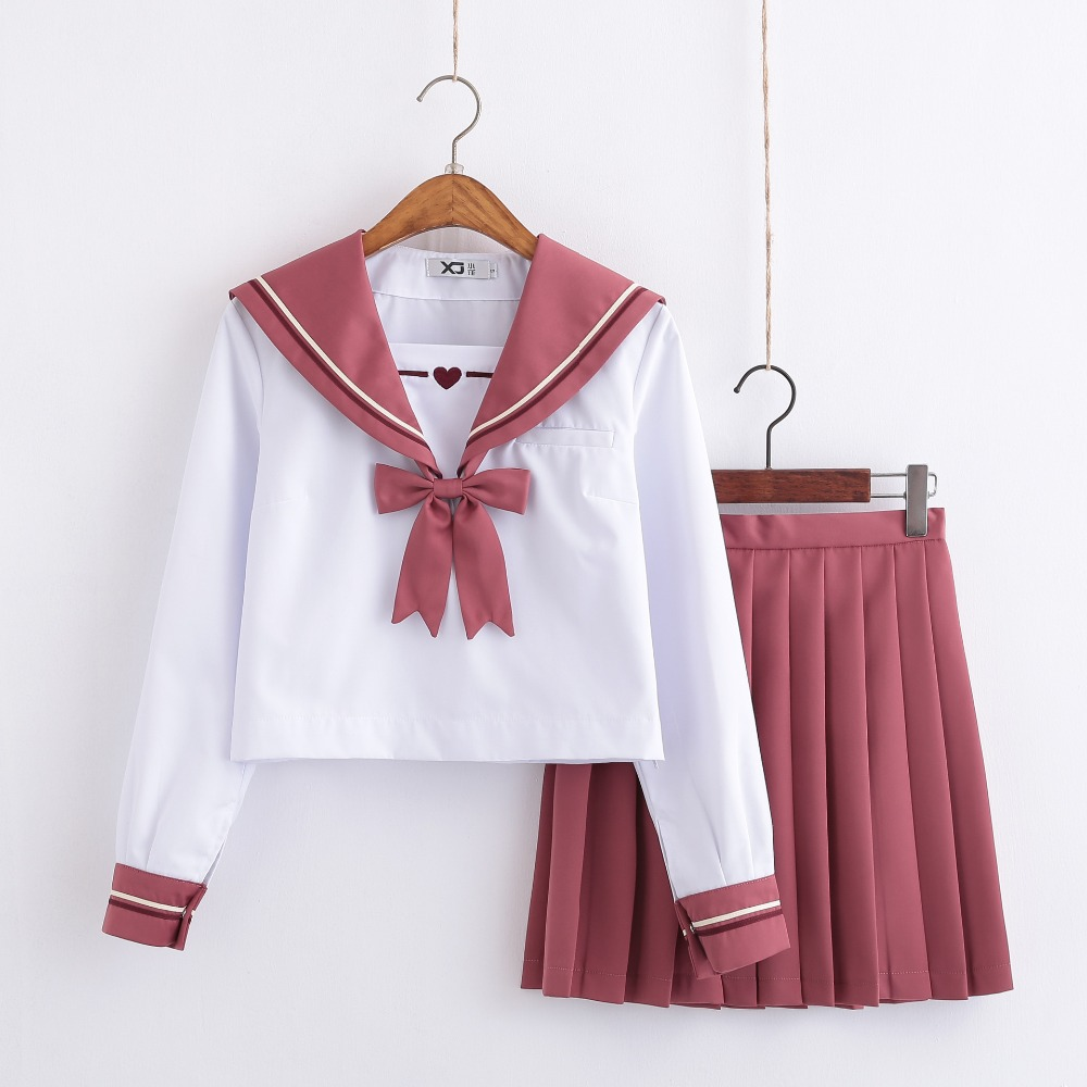 New School Uniforms For Girls Cupid Heart Embroidered Student Suit Long Sleeve Japanese Cosplay Jk College Sailor Uniform Pink