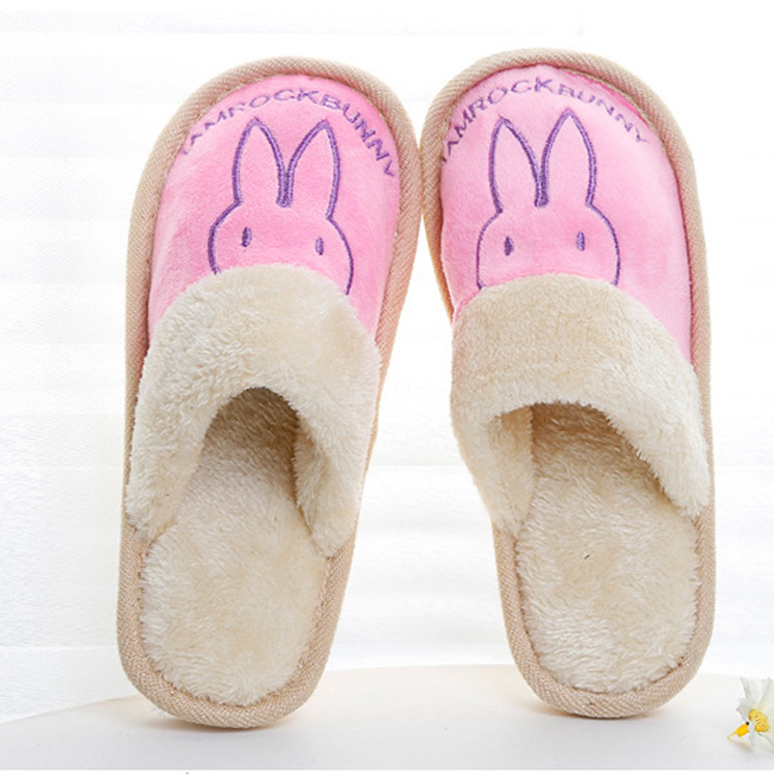 Women Men Plush Cartoon Uni Bedroom Cotton Skid Resistance Slippers Soft Rabbit Home Antiskid Indoor