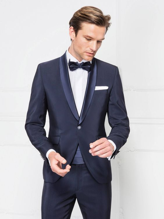 2017 Latest Coat Pant Designs Navy Blue Men Suit Slim Fit 2 Piece Groom Tuxedo Custom Su ...